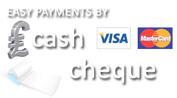 Pay by visa, mastercard, cheques or cash